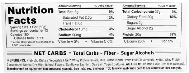 運動,蛋白質棒 - YUP, B Up Protein Bar, Sugar Cookie, 12 Bars, 2.2 oz (62 g) Each