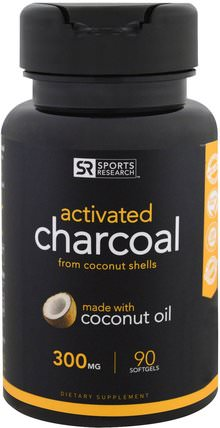 Activated Charcoal From Coconut Shells, 300 mg, 90 Softgels by Sports Research, 補品,礦物質,活性炭 HK 香港