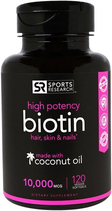 Biotin, 10.000 mcg, 120 Veggie Softgels by Sports Research, 維生素,維生素B,生物素 HK 香港