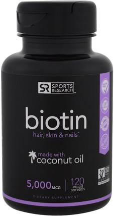 Biotin, 5.000 mcg, 120 Veggie Softgels by Sports Research, 維生素,維生素B,生物素 HK 香港