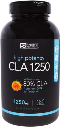 CLA 1250, 1250 mg, 180 Softgels by Sports Research, 減肥,飲食,cla(共軛亞油酸) HK 香港