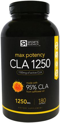 CLA 1250, Max Potency, 1250 mg, 180 Softgels by Sports Research, 減肥,飲食,cla(共軛亞油酸),健康 HK 香港
