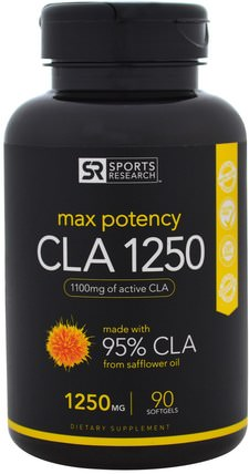 CLA 1250, Max Potency, 1250 mg, 90 Softgels by Sports Research, 減肥,飲食,cla(共軛亞油酸),運動 HK 香港