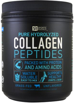 Collagen Peptides, Unflavored, 16 oz (454 g) by Sports Research, 運動,運動,骨骼,骨質疏鬆症,膠原蛋白 HK 香港