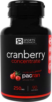 Cranberry Concentrate, 250 mg, 90 Softgels by Sports Research, 草藥,蔓越莓,泌尿健康 HK 香港