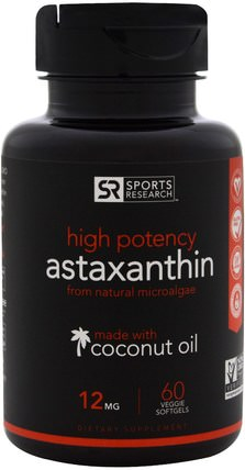 High Potency Astaxanthin, 12 mg, 60 Veggie Softgels by Sports Research, 補充劑,抗氧化劑,蝦青素 HK 香港