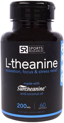 L-theanine, 200 mg, 60 Softgels by Sports Research, 補充劑,l茶氨酸,抗壓力情緒支持 HK 香港