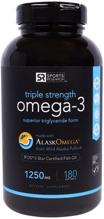 Omega-3, Triple Strength, 1250 mg, 180 Softgels by Sports Research, 補充劑,efa歐米茄3 6 9(epa dha),歐米茄369粒/標籤 HK 香港