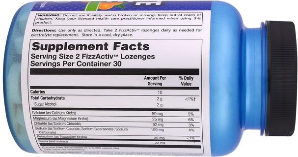 運動,運動,電解質飲料補給 - Natural Sport, Electrolyte Lozenge, Tangerine Flavor, 60 FizzActiv Lozenges