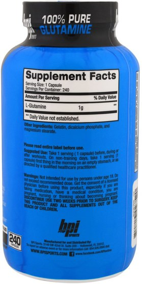 運動,補品,氨基酸 - BPI Sports, 100% Pure Glutamine, Limited Edition, Essential Amino For Muscle Recovery, 1.000 mg, 240 Capsules