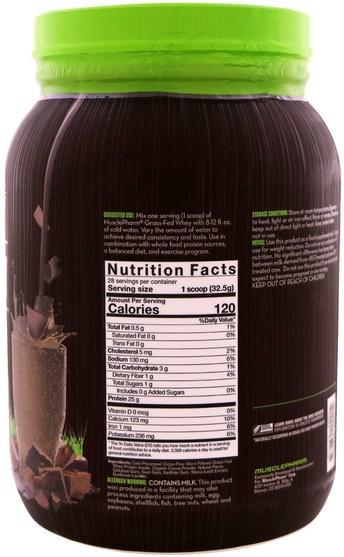 運動,補品,蛋白質 - MusclePharm Natural, Grass-Fed Whey, Natural Whey Protein Powder Drink Mix, Chocolate, 2 lbs (910 g)