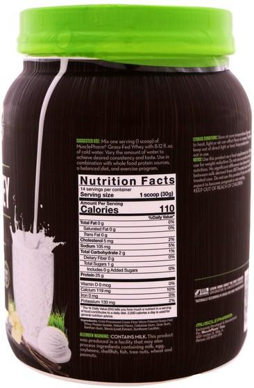 運動,補品,蛋白質 - MusclePharm Natural, Grass-Fed Whey, Natural Whey Protein Powder Drink Mix, Vanilla, 0.93 lbs (420 g)