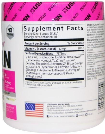 運動,女性運動產品,鍛煉 - USN, Hers B4-Burn, Pre-Workout, Pink Lemonade, 12.17 oz (345 g)