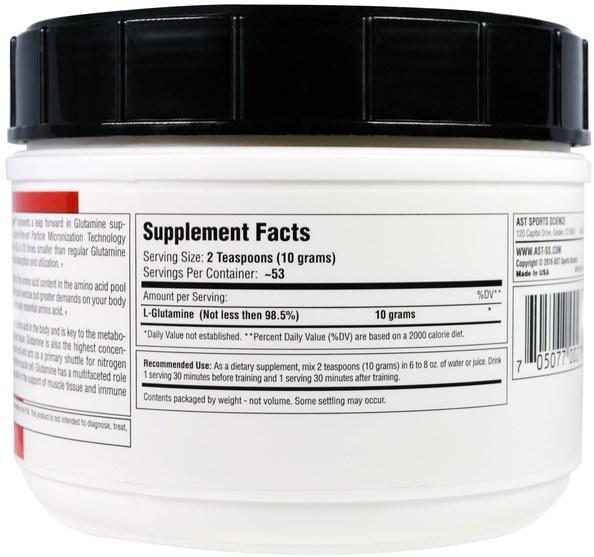 運動,鍛煉 - AST Sports Science, Micronized GL-3, L-Glutamine, 18.52 oz (525 g)