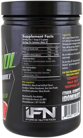 運動,鍛煉 - iForce Nutrition, Xtreme Series, Hemavol Powder, Watermelon Cooler, 8.5 oz (240 g)