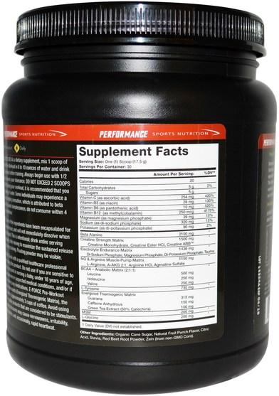 運動,鍛煉,肌肉 - Olympian Labs Performance Sports Nutrition, E- Force Pre-Workout, Fruit Punch Flavor, 525 g