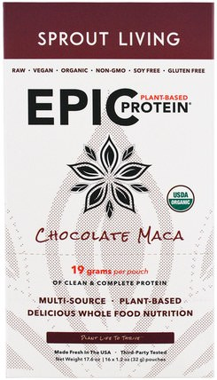 Epic Plant-Based Protein, Chocolate Maca, 12 Pouches, 1.2 oz (32 g) Each by Sprout Living, 補充劑,adaptogen,蛋白質 HK 香港