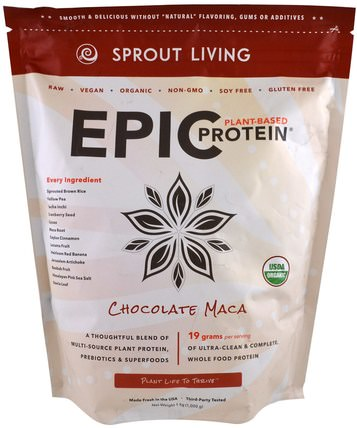 Organic Epic Protein, Chocolate Maca, 1 kg (1.000 g) by Sprout Living, 補充劑,adaptogen,蛋白質 HK 香港