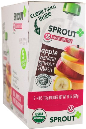 Sprout Organic Baby Food, Stage 2, Apple, Banana, Butternut Squash, 5 Pouches, 4 oz (113 g) Each 兒童健康,嬰兒餵養