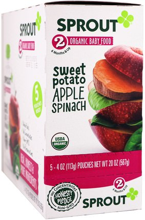 Stage 2, Sweet Potato, Apple Spinach, 5 Pouches, 4 oz (113 g) Each by Sprout Organic Baby Food, 兒童健康,嬰兒餵養 HK 香港