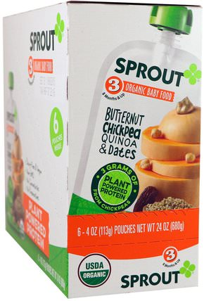 Sprout Organic Baby Food, Stage 3, Butternut Chickpea, Quinoa & Dates, 6 Pouches, 4 oz (113 g) Each 兒童健康,嬰兒餵養