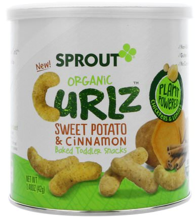 Sweet Potato & Cinnamon, 1.48 oz (42 g) by Sprout Organic Curlz, 兒童健康,嬰兒餵養 HK 香港