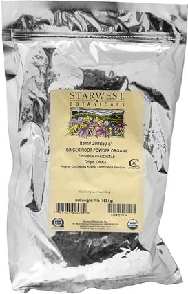 Ginger Root Powder, Organic 1 lb (453.6 g) by Starwest Botanicals, 草藥,姜根,姜香料 HK 香港