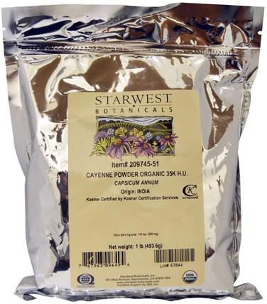 Organic Cayenne Powder 35K H.U., 1 lb (453.6 g) by Starwest Botanicals, 草藥,辣椒(辣椒),香料和調味料 HK 香港