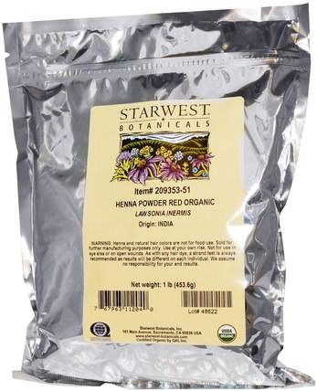 Organic Henna Powder, Red, 1 lb (453.6 g) by Starwest Botanicals, 洗澡,美容,頭髮,頭皮,頭髮的顏色,頭髮護理 HK 香港