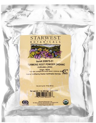 Turmeric Root Powder Organic 1 lb (453.6 g) by Starwest Botanicals, 食品,香料和調料,薑黃香料,補品,抗氧化劑,薑黃素 HK 香港