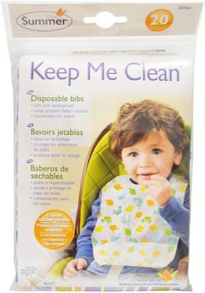 Keep Me Clean, Disposable Bibs, 20 Bibs by Summer Infant, 兒童健康,嬰兒,兒童,嬰兒旅行配件,兒童食品 HK 香港