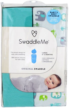 Swaddle Me, Original Swaddle, Large, 4-6 Months, Elephant Pebble, 2 Swaddles by Summer Infant, 兒童健康,嬰兒,兒童 HK 香港