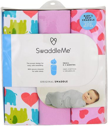 Swaddle Me, Original Swaddle, Small, 0-3 Months, Elephant Hearts, 3 Swaddles by Summer Infant, 兒童健康,嬰兒,兒童 HK 香港