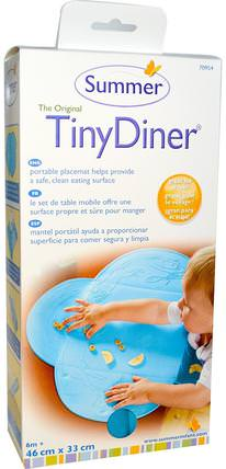 The Original Tiny Diner Portable Placemat, Blue, 1 Mat by Summer Infant, 兒童健康,嬰兒,兒童,嬰兒旅行配件,兒童食品 HK 香港