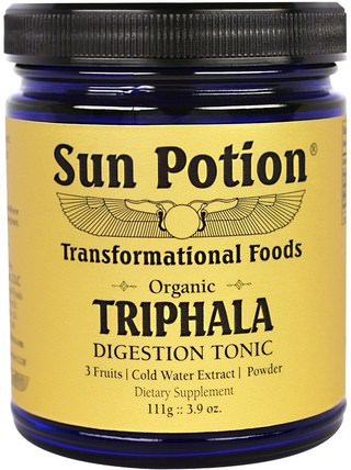 Sun Potion, Triphala Organic Cold Water Extract Powder, 3.9 oz (111 g) 健康,排毒,三叉戟,消化,胃