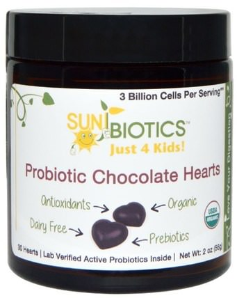 Just for Kids! Probiotic Chocolate Hearts, 30 Hearts, 2 oz (56 g) by Sunbiotics, 補充劑,益生菌,兒童益生菌,穩定的益生菌 HK 香港