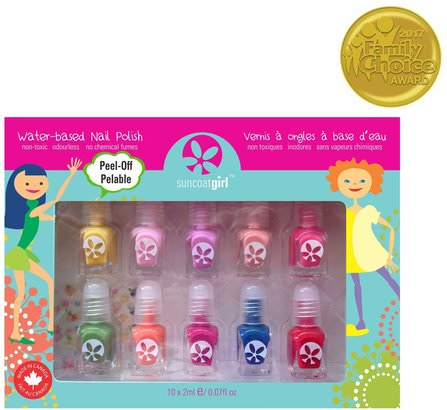 Water-Based Nail Polish Kit, Party Palette, 10 Pieces by Suncoat Girl, 洗澡,美容,化妝,指甲油,禮品套裝 HK 香港