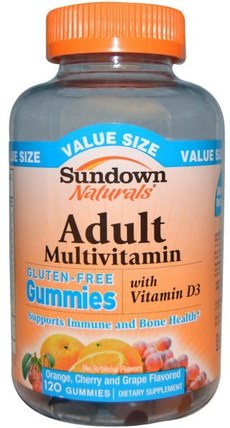 Adult Multivitamin, Cherry and Grape Flavored, 120 Gummies by Sundown Naturals, 熱敏感產品,維生素,多種維生素gummies HK 香港