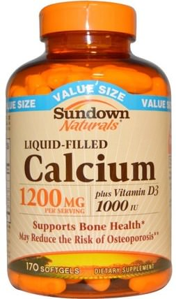 Liquid-Filled Calcium, Plus Vitamin D3, 1200 mg/1000 IU, 170 Softgels by Sundown Naturals, 補充劑,礦物質,鈣維生素d HK 香港