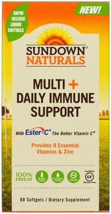 Sundown Naturals, Multi + Daily Immune Support, 60 Softgels 維生素,多種維生素