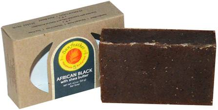 African Black Soap Bar, 4.3 oz (121 g) by Sunfeather Soaps, 洗澡,美容,肥皂,黑色肥皂 HK 香港