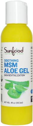 MSM Aloe Gel, Skin Revitalization, 4 fl oz (118.3 ml) by Sunfood, 沐浴,美容,潤膚露,抗疼 HK 香港