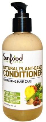 Natural Plant-Based Conditioner, 8 fl oz (237 ml) by Sunfood, 洗澡,美容,頭髮,頭皮,洗髮水,護髮素,護髮素 HK 香港