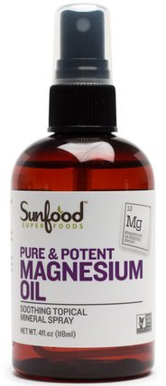 Pure & Potent Magnesium Oil, 4 fl oz (118 ml) by Sunfood, 健康,皮膚,按摩油,抗疼痛 HK 香港