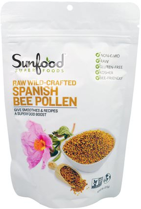 Raw Wild-Crafted Spanish Bee Pollen, 8 oz (227 g) by Sunfood, 補品,超級食品,蜂產品,蜂花粉 HK 香港