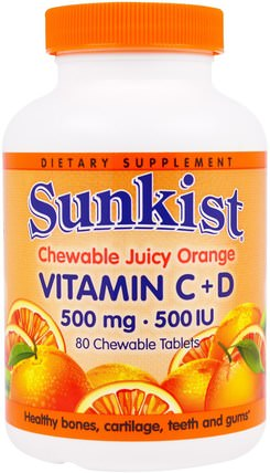 Vitamin C + D, Chewable Juice Orange, 500 mg / 500 IU, 80 Chewable Tablets by Sunkist, 維生素,維生素c,維生素d3 HK 香港