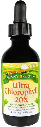 Ultra Chlorophyll 20X, Natural Peppermint Flavor, 2 fl oz (59 ml) by Sunny Green, 補充劑,葉綠素 HK 香港