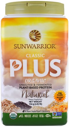 Organic Classic Plus, Natural, 1.65 lb (750 g) by Sunwarrior, 運動,鍛煉,蛋白質 HK 香港