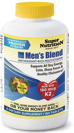Super Nutrition, Mens Blend, Antioxidant-Rich Multivitamin, 180 Tablets 維生素,多種維生素,男士混合