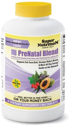 PreNatal Blend, 180 Tablets by Super Nutrition, 維生素,產前多種維生素,女性 HK 香港